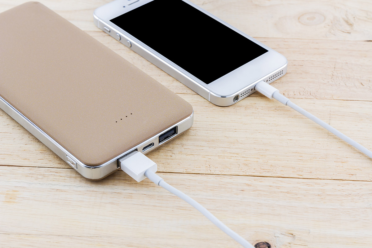 Smartphone with golden power bank.